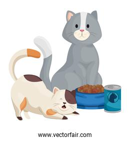 cute little cats with food isolated icon