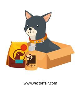 cute dog with bag food and icons