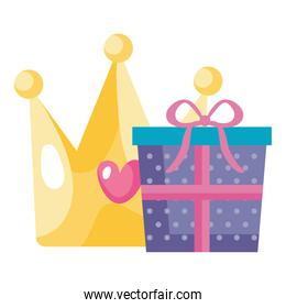 gift box with cute crown isolated icon