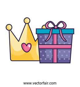 cute crown with gift box isolated icon