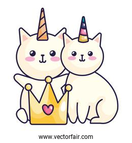 cute cats unicorn with crown icons
