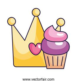 cute crown with cupcake isolated icon