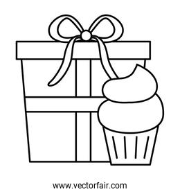 gift box present with cupcake isolated icon