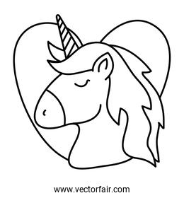 head of cute unicorn with heart isolated icon