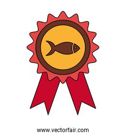 stamp with fish animal isolated icon