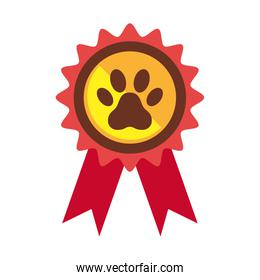 stamp with pawprint dog isolated icon