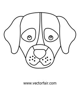 head of cute dog animal isolated icon