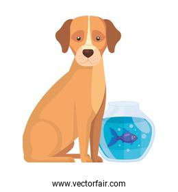 cute dog with fish bowl isolated icon