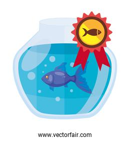 round glass fish bowl with stamp isolated icon