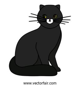cute cat black isolated icon