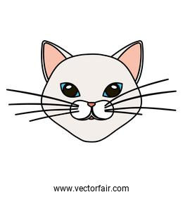 face of cat white isolated icon