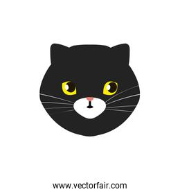 face of cat black isolated icon
