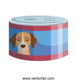 food for dog in can isolated icon