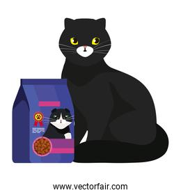 cute cat black with food in bag isolated icon