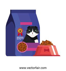 bag and dish food for cat