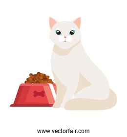 cute cat with dish food isolated icon