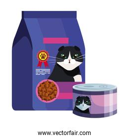 bag and can of food for cat isolated icon