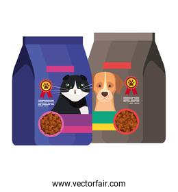 bags of food for cat and dog