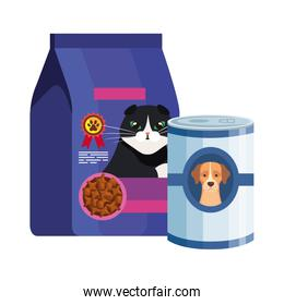 food for cat in bag and food dog in can