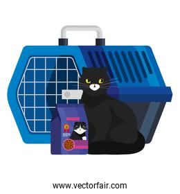 cat black with food in bag and pet carry box