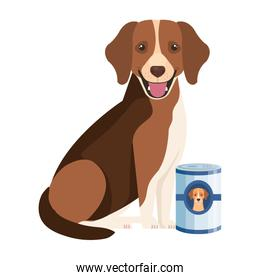 cute dog with food in can isolated icons
