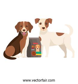 cute dogs with bag food isolated icon