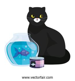 cute cat black with round glass fish bowl