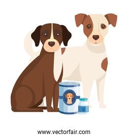 cute dogs with food in can isolated icons