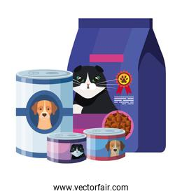 set of food for cats and dogs