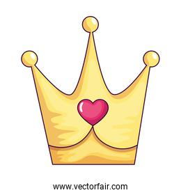 cute crown with heart isolated icon