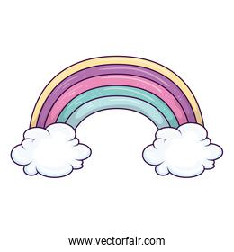 cute rainbow with clouds isolated icon