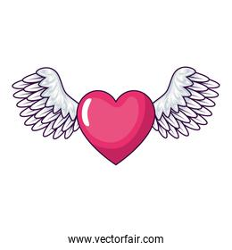 cute heart with wings isolated icon