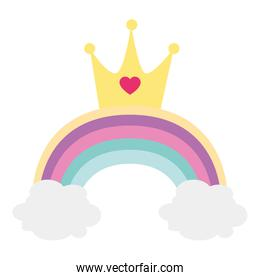 pretty rainbow with clouds and crown