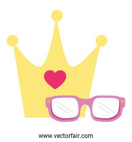 cute eyeglasses and crown isolated icon