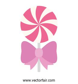 delicious lollipop with bow ribbon isolated icon