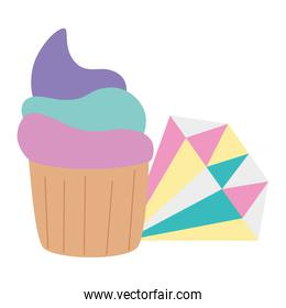 cute diamond jewelry with cupcake isolated icon