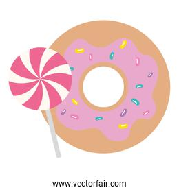 delicious sweet donut with lollipop