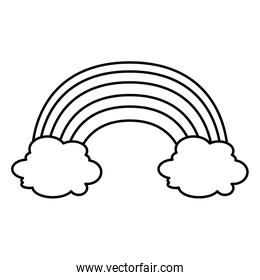 cute rainbow with clouds line style icon