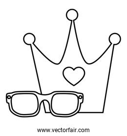 cute eyeglasses and crown line style icon
