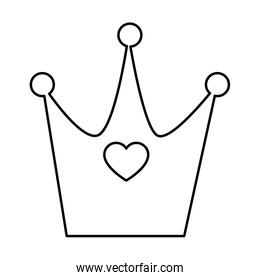 cute crown with heart line style icon