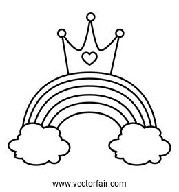 cute rainbow with clouds and crown line style icon