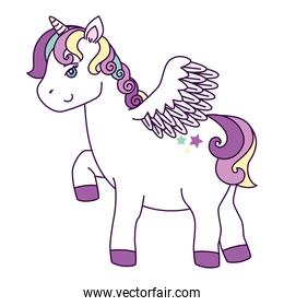 cute unicorn with wings and stars decoration