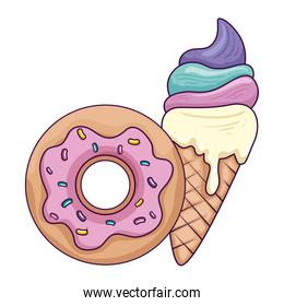 sweet donut with delicious ice cream