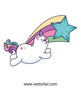 cute cat unicorn with shooting star