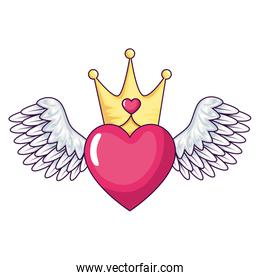cute heart with wings and crown isolated icon