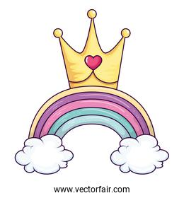cute rainbow with clouds and crown
