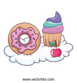 cute donut with cupcake and cherry in cloud