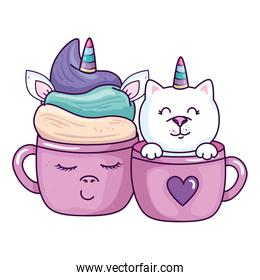 cute cup unicorn and cat in cup kawaii style