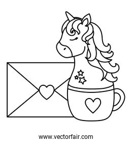 head of cute unicorn in cup ceramic with envelope