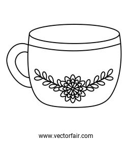 cup ceramic with flower line style icon